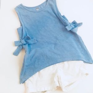 Periwinkle Top with White Shorts